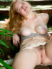 Busty pale redhead amateur Laney spreading her hairy pussy in nature from Abby Winters