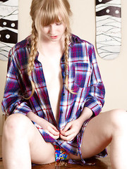 Busty amateur teen Satine spreading hairy muff