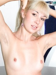 Hairy russian amateur Angie spreading muff