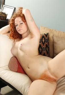 Furry pussy redhead Mona spreading snatch