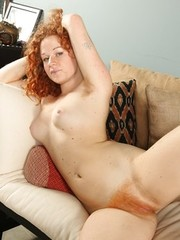 Furry pussy redhead Mona spreading snatch