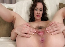 Her hairy pussy is gaping