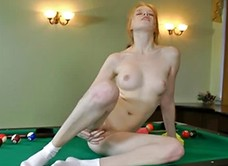 Hairy girl Rita fingering pussy on pool table