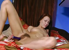 Hairy woman Arina tames her morning craving