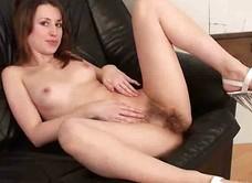Natural Jasmine finger fucks her hairy pussy